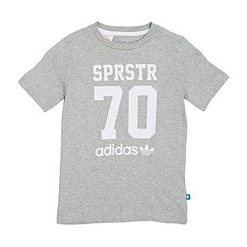 Adidas J LE tee - Camiseta para niño, Color Gris/Blanco, Talla 140: Amazon.es: Deportes y aire libre