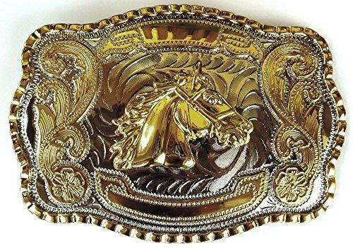 Horse Head Gold Silver Big Cowboy Western Shine Belt Buckle