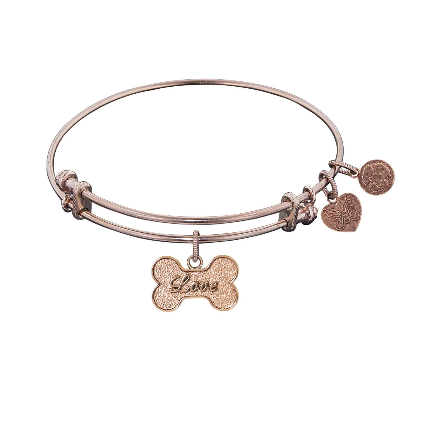 Angelica Ladies Love /& Hearts Collection Bangle Charm 7.25 Inches PGEL1015 Adjustable