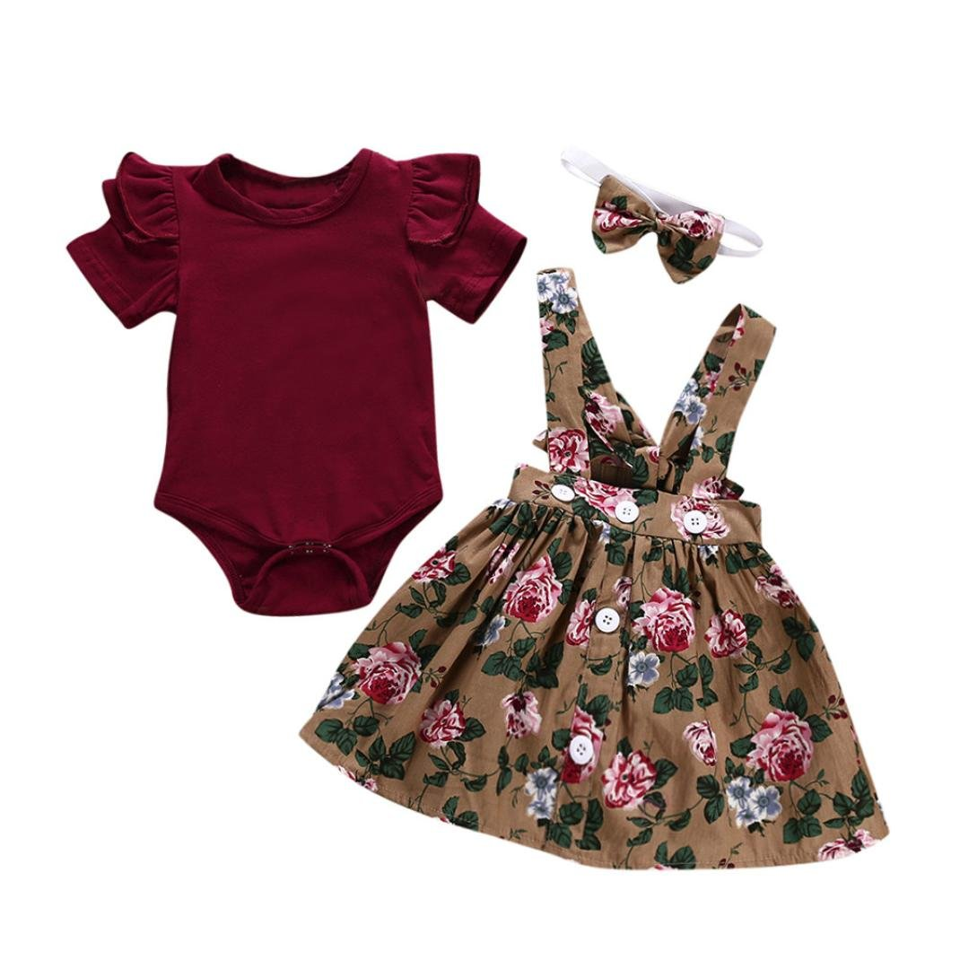 Hevoiok Baby Girls Princess Romper Cute Sweet O Neck Short Sleeve Solid Jumpsuits + Floral Print Suspender Skirt + Headband 3Pcs Outfits