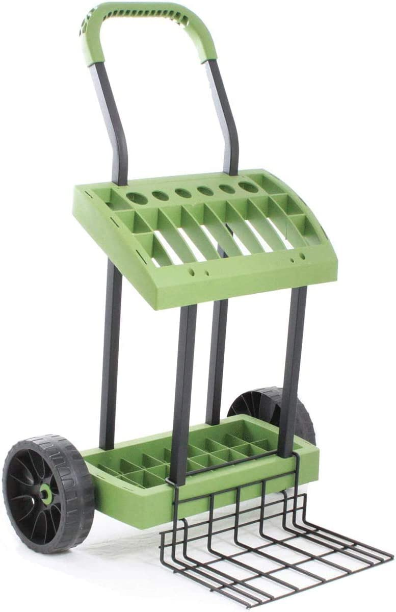 SuperDuty Toolbox on Never Flat Wheels with 120 Lb. Capacity Lift Plate | Organize & Store Lawn & Garden Tools | Wire Two Wheeler Lift Plate Yard Project Landscape Cart | Model SD565