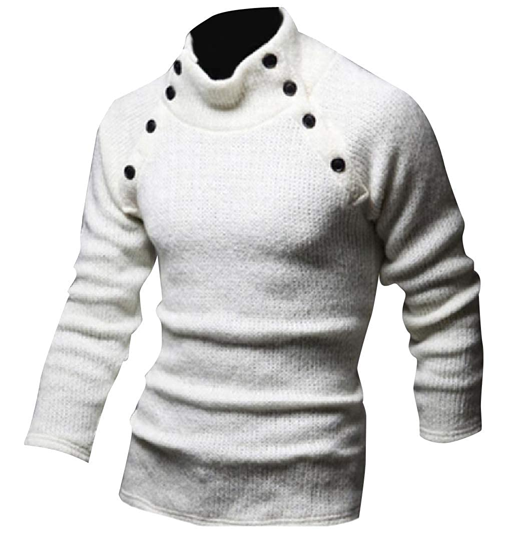 Abetteric Mens Loose Fit Semi-hign Collar Long Sleeve Jumper Tops
