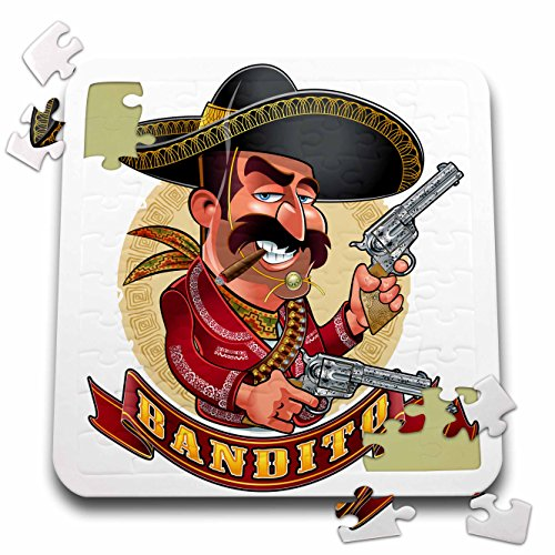 3dRose Carsten Reisinger - Illustrations - Cool Bandito Mexican Guy with Big Guns Smiling - 10x10 Inch Puzzle (pzl_282679_2)