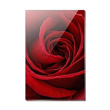 Imán para nevera rectangular de acrílico con diseño de rosa roja ...