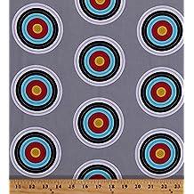 Cotton Targets Archery Target Shooting Bulls Eyes Bulls-eyes Sports Life 3 Gray Cotton Fabric Print by the Yard (srk-15074-12-grey)