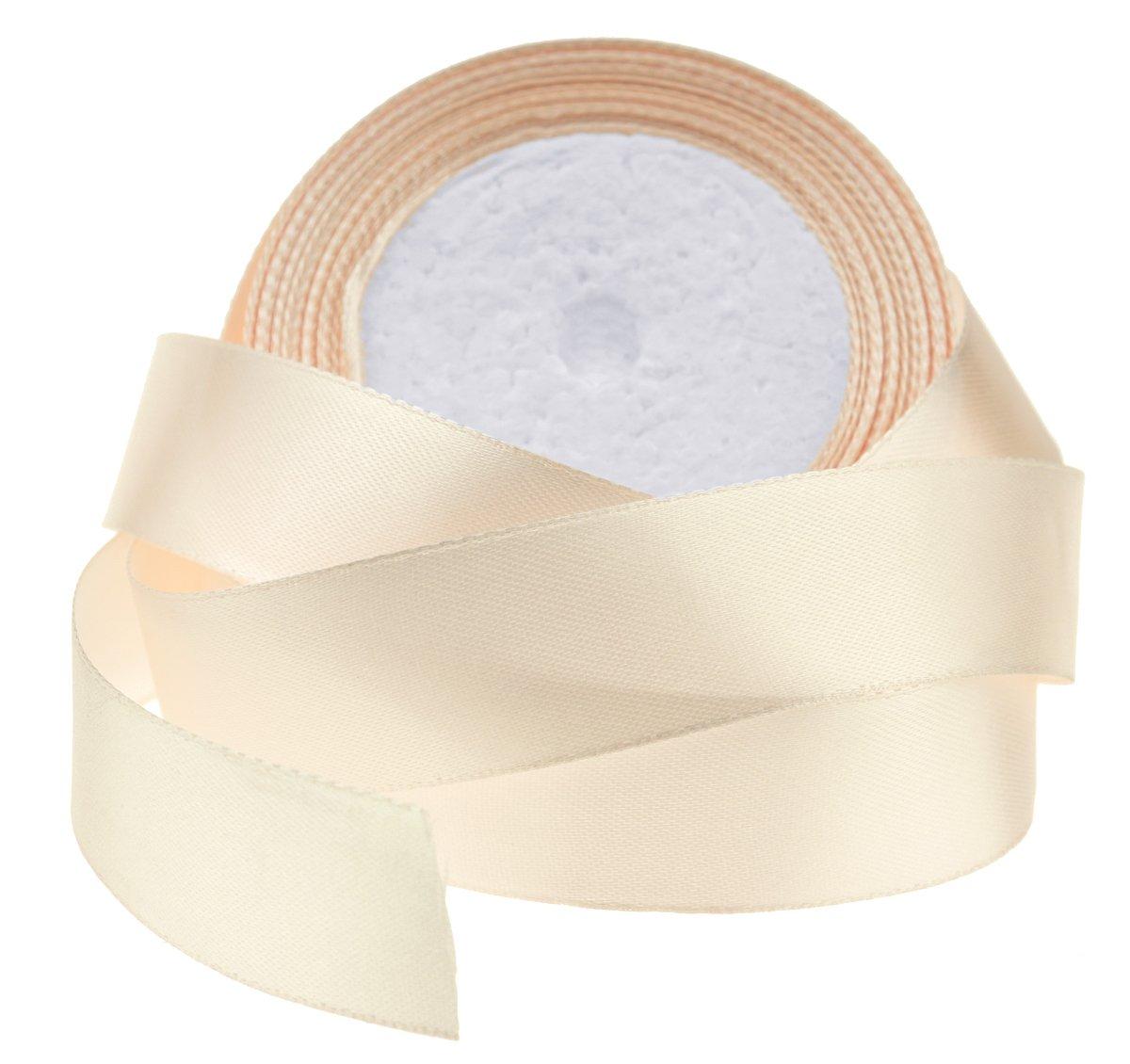 1×高品質の片面サテンリボン/工芸品/DIY/スクラップブッキング/ギフト用包装紙/結婚式に最適(#2ベージュ、(25mm x 23M) - FiveSeasonStuff B01A5QQP0C
