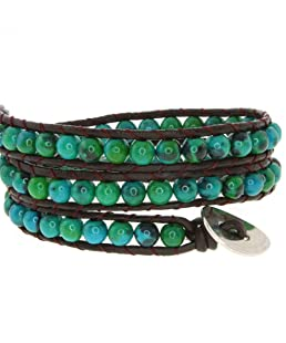 Gem Stone King 14inches Blue/Green Beads on Dark Brown Leather Wrap Bracelet with Snap Button Lock