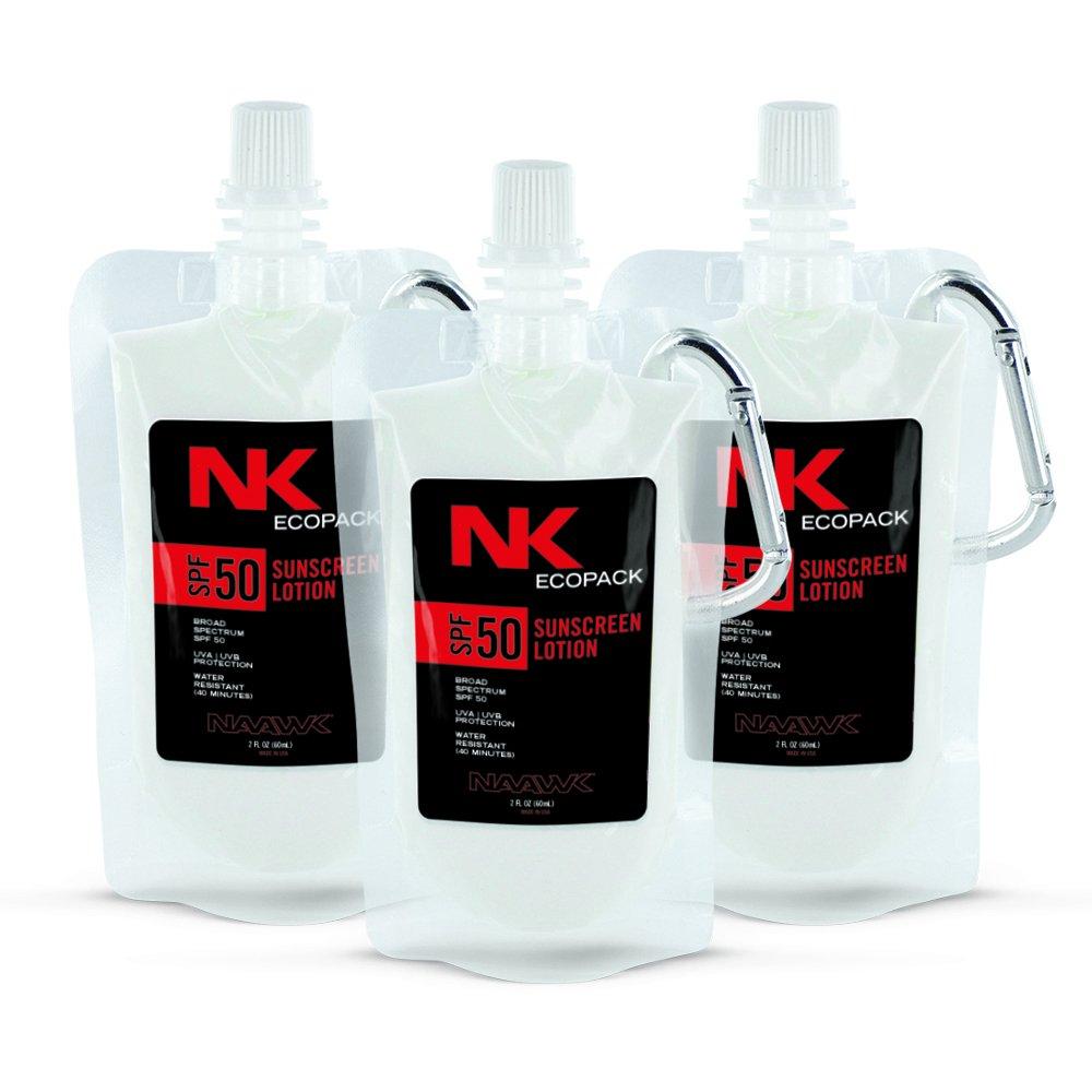 NAAWK Sunscreen Pouch | Adventure EcoPack SPF 50-2 FL OZ (60 mL) (3-Pack)