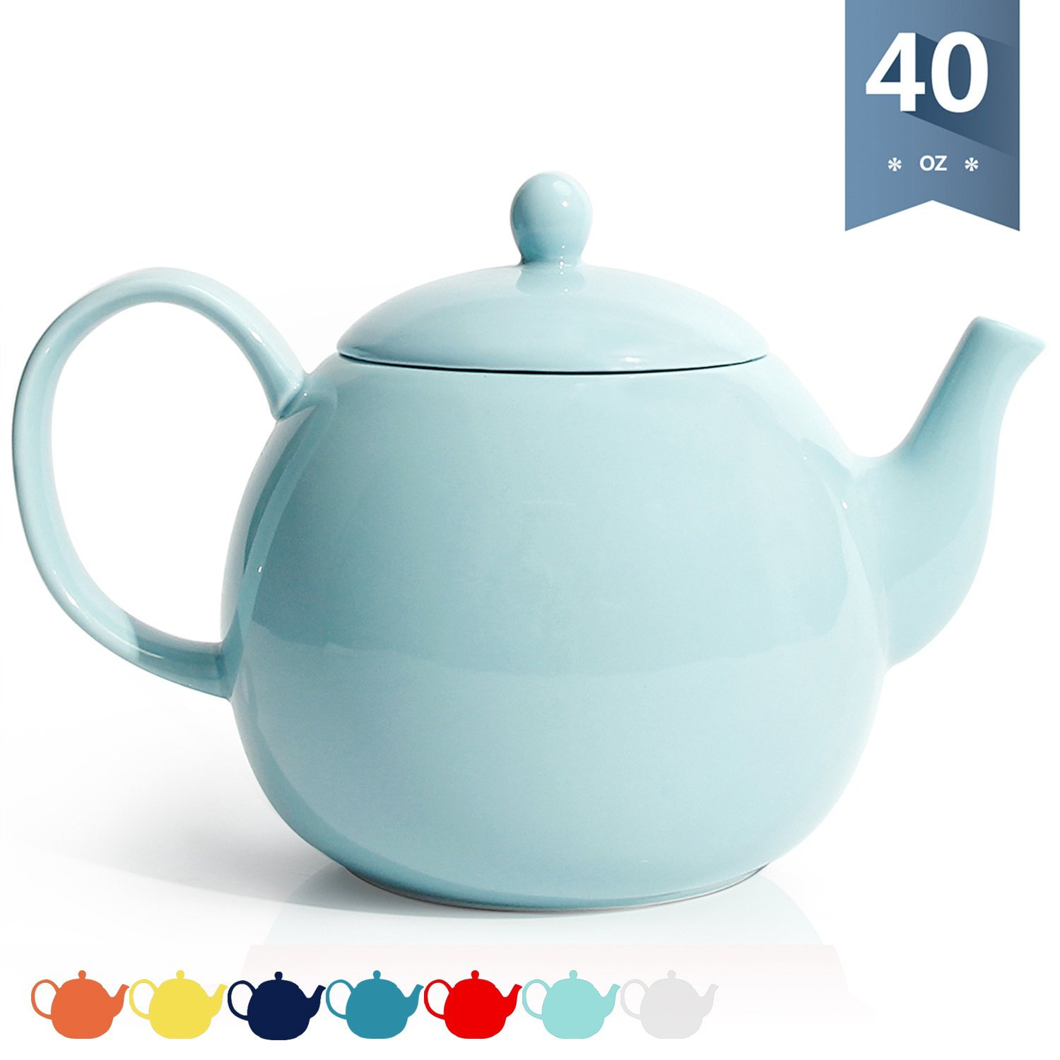 Sweese 2312 Porcelain Teapot, 40 Ounce Tea Pot - Large Enough for 5 Cups, Turquoise
