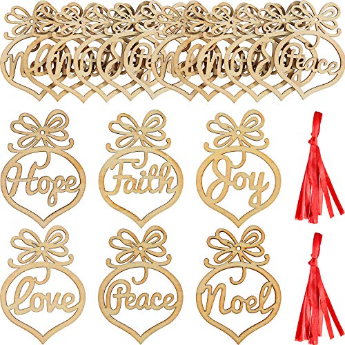 - SATINIOR 18 Pieces Christmas Wooden Ornaments Tree Hanging Tags Wooden Hollow Letter Decorations