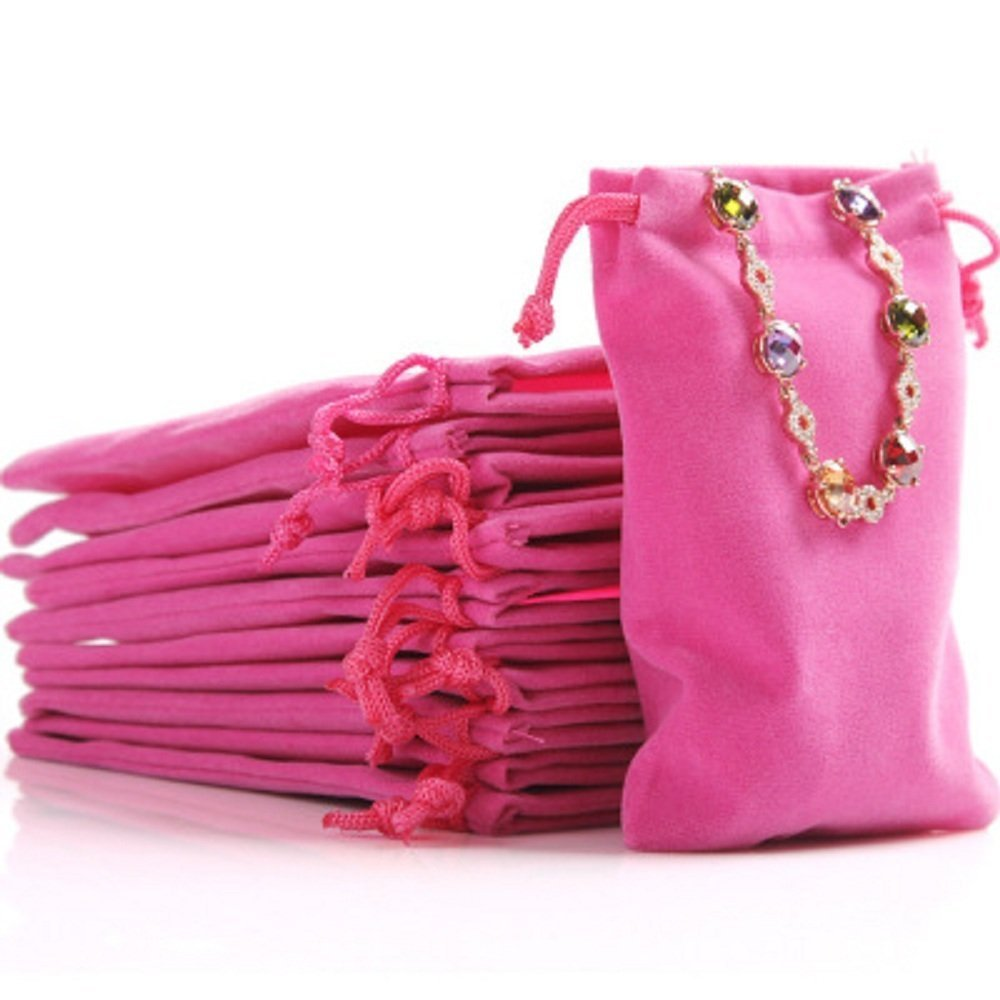Wuligirl 100PCS 5 x 6 Inches Velvet Bags with Drawstring for Wedding Baby Shower Party Favor Jewelry Bags Festival Pouches Coins Purse Soap Bags(Rose Red)