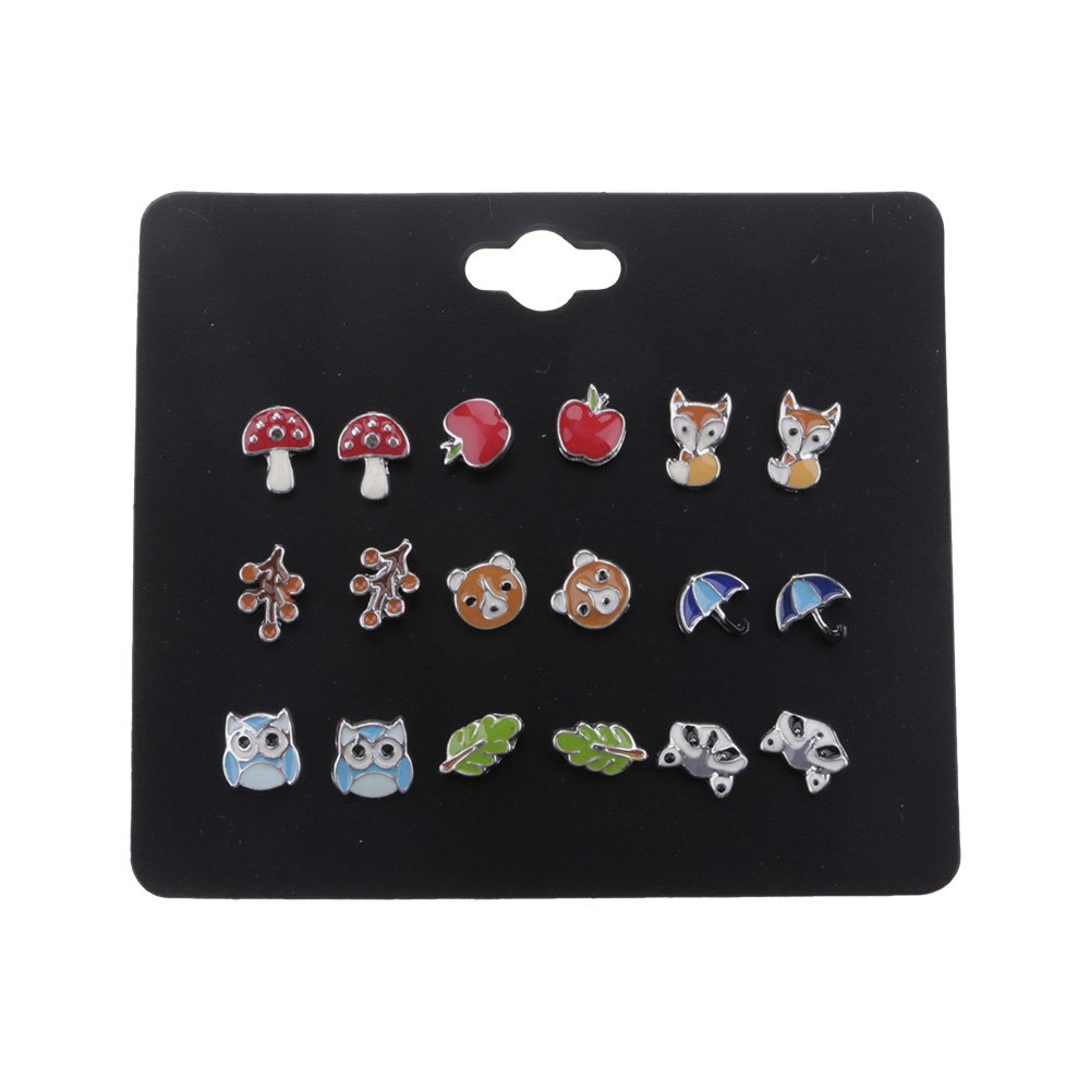 Huayang| 9 Pairs/Pack Fashion Cute Stud Earrings, Animal Fox Stud Earrings Cat Stud Earrings for Women Fashion Jewelry