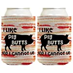 Funny Beer Coolie I Like Pig Butts Bacon Lover BBQ Grill Meat Chef 2 Pack Can Coolie Drink Coolers Coolies Bacon