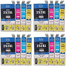 Color-Store 16x (4Black, 4Cyan, 4Magenta, 4Yellow) Remanufactured 252 T252 252XL Ink Cartridges Works with WF-3620 WF-3640 WF-7610 WF-7620 printer