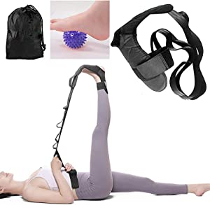 Autonomier Yoga Foot Leg Calf Stretcher-Stretching Strap for Plantar Fasciitis,Improve Strength,Ankle Foot Drop,Achilles Tendonitis&Hamstring,Quad,and Calf Pain Relief Bag and Massage Ball Included