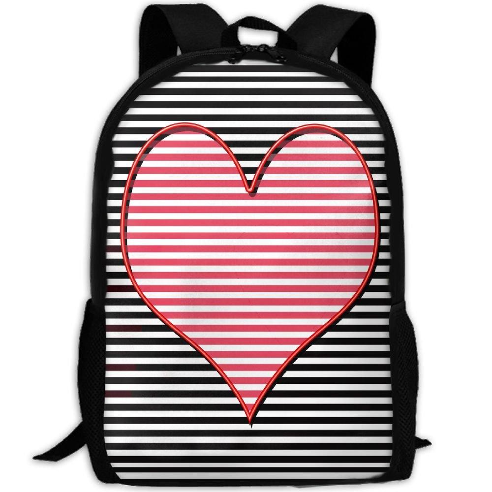 OIlXKV Heart Black White Striped Print Custom Casual School Bag Backpack Multipurpose Travel Daypack For Adult