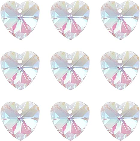 10 x Crystal Glass Faceted Heart Clear Pendant Charms Electroplated Silver Back