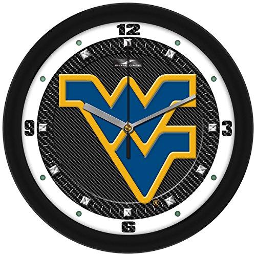 SunTime NCAA West Virginia Mountaineers Textured Carbon Fiber Wall Clock
