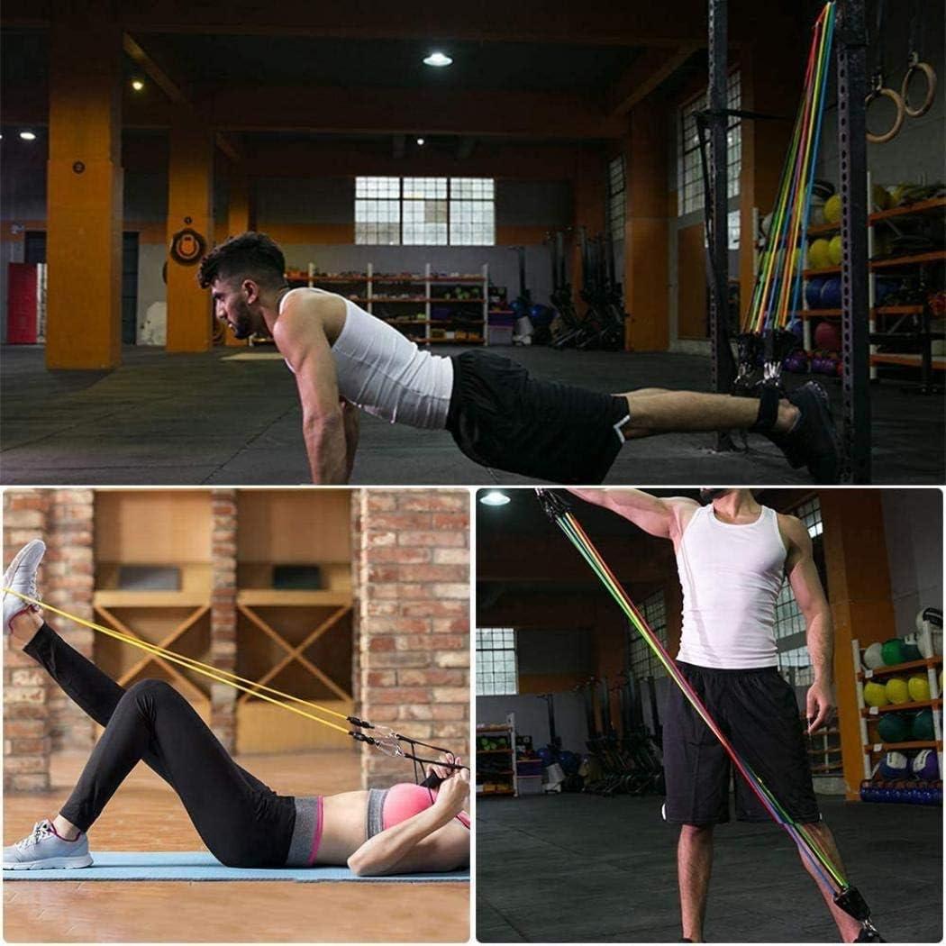 Juego de 11 bandas de resistencia con anclaje de puerta, correas de tobillo, asas para fitness, bolsa de transporte para fortalecer el cuerpo, ...