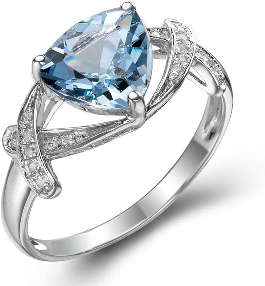 Moda Joyería Naturales Cielo Azul Aguamarina Piedra preciosa 14K Oro blanco Diamante Boda Compromiso Anillo para Mujer