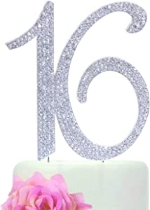 "Number""16"" Sweet 16 Birthday Cake Topper - Monogram Rhinestone Silhouette w/Crystals"