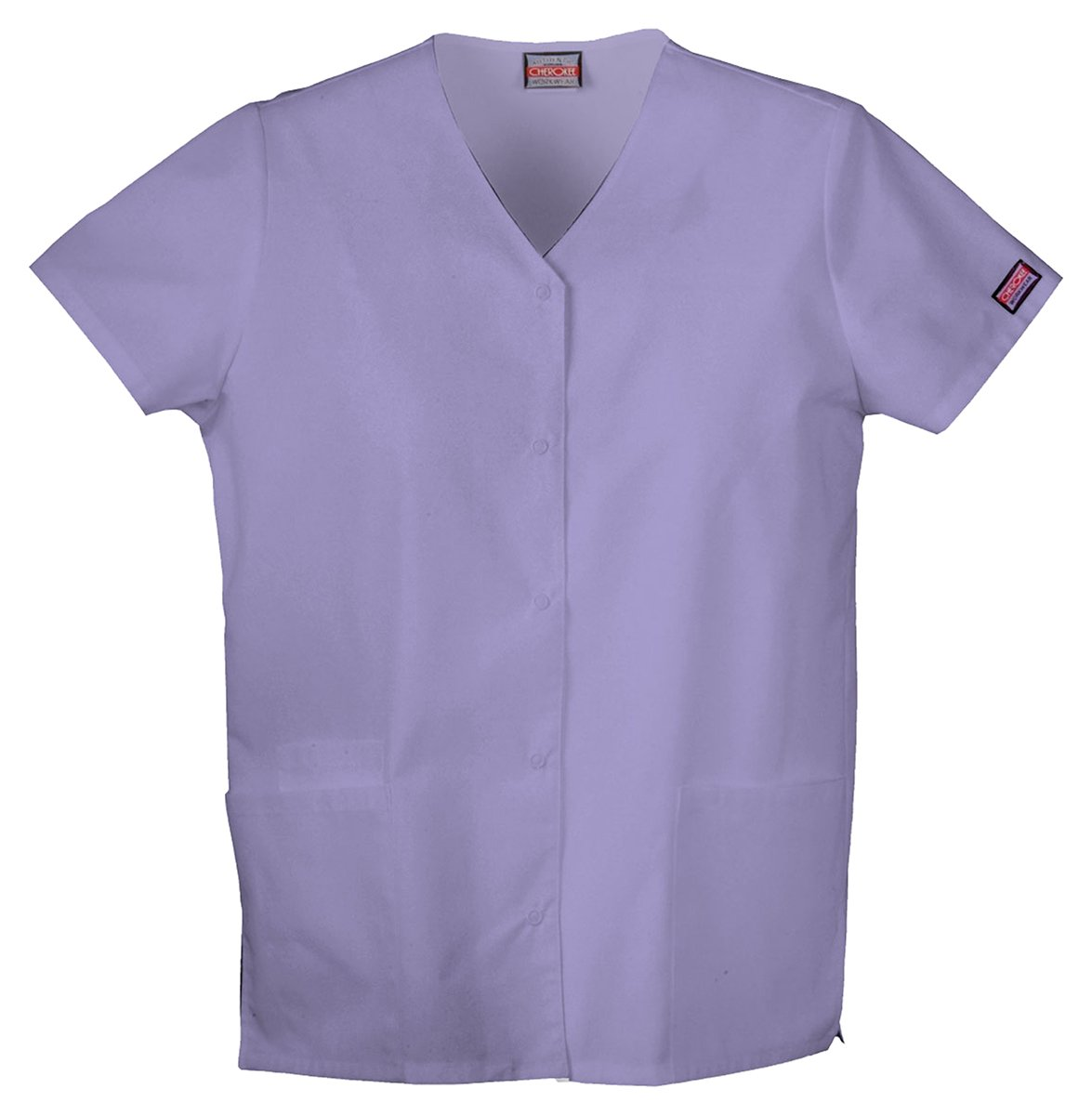 Cherokee Workwear Women's Snap Front V-Neck Shirt_Orchid_XXX-Large by Cherokee (Image #1)