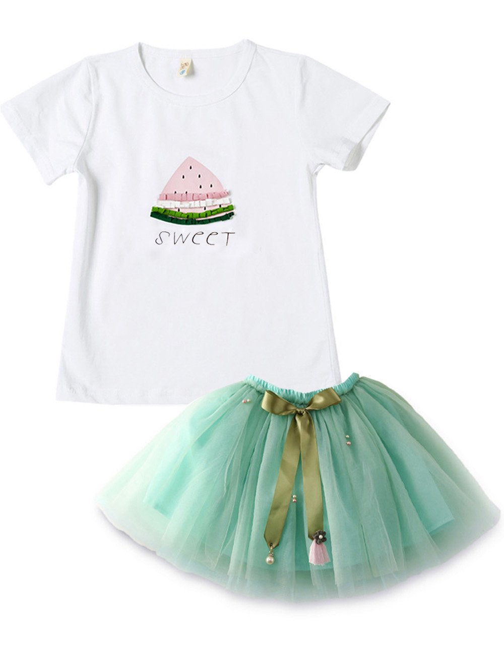 Spring&Gege Little Girls' Clothes Cute Toddler Kids Outfits, Summer Skirt Set Watermelon Print, Size 3-4 Years (Tag Size 9), Green