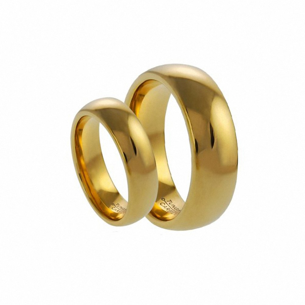 Men /& Ladies 8MM//6MM Tungsten Carbide Shiny Gold Wedding Band Ring Set Classic Please e-mail sizes Available Sizes 5-15 Including Half Sizes