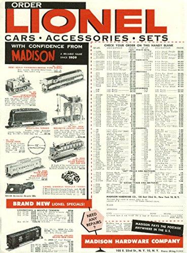 Madison Hardware Lionel Section Gang Car Barrel Fairbanks Morse Diesel ad 1955