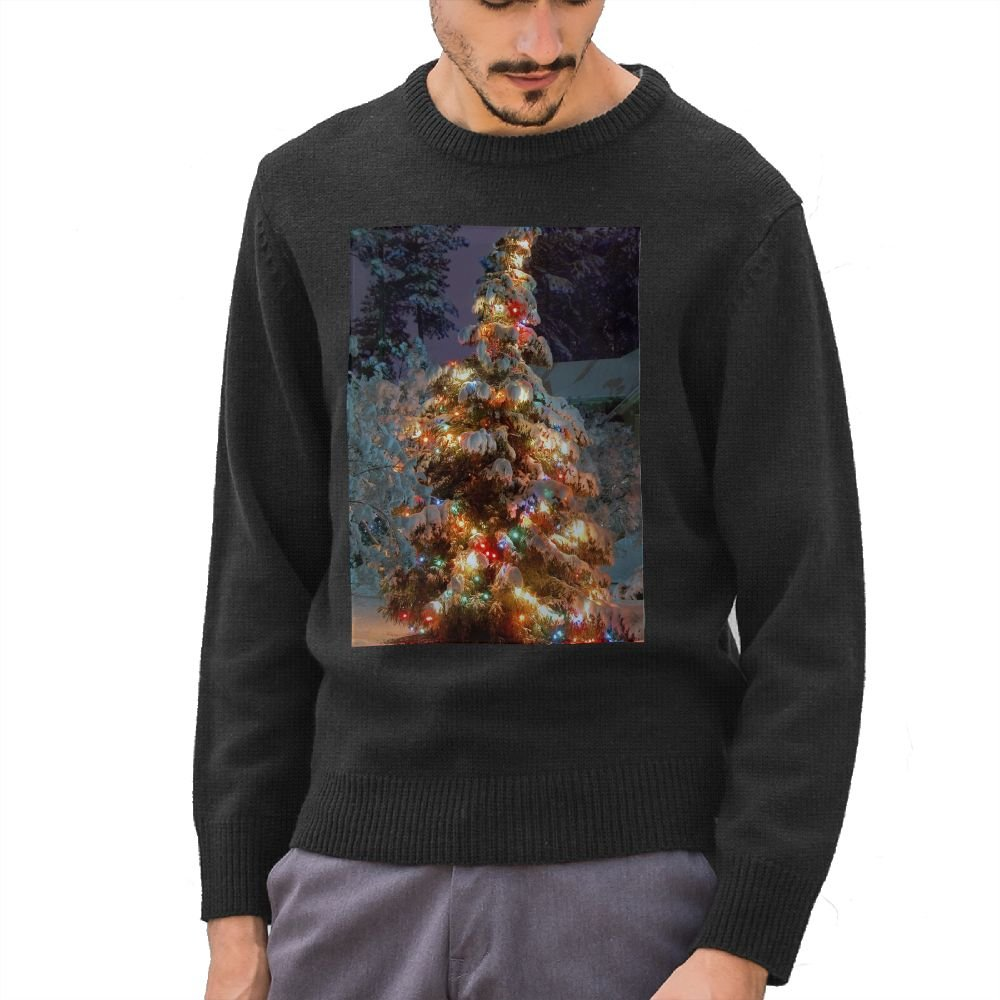 Mr.Roadman Mens Christmas At Night Pattern DIY Design Pattern Fashion O-Neck Sweater Jumpers Pullover