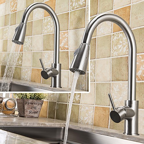 Harrahs J-1006 Kitchen Bar Sink Brushed Nickel Single-Hole One Handle Pull Out and Down Two Dual Function Water Mode Sprayer Spout Touch On Faucet