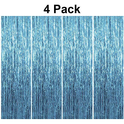 pozzolanas 4 Pack Foil Fringe Curtain Metallic Tinsel