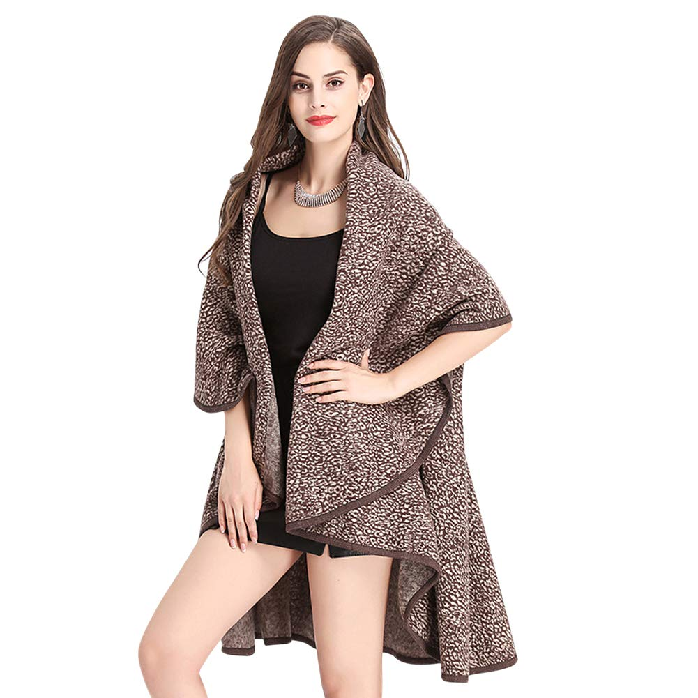 Coffee Tortor 1Bacha Women's Double Layered Shawl Wrap Leopard Print Poncho Cape