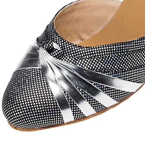 Minision Frauen T-Strap Glitter Salsa Tango Ballsaal Latein Tanzschuhe Hochzeit Pumps X-Strap / Schwarz-6cm Absatz