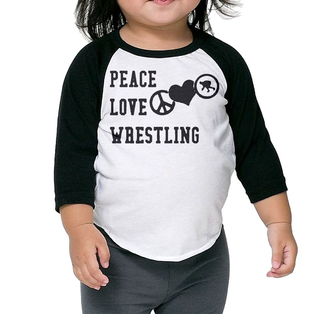 Peace Love Wrestling Baseball Jersey Boys Girls Tee 3/4 Sleeve Raglan Toddler Tops