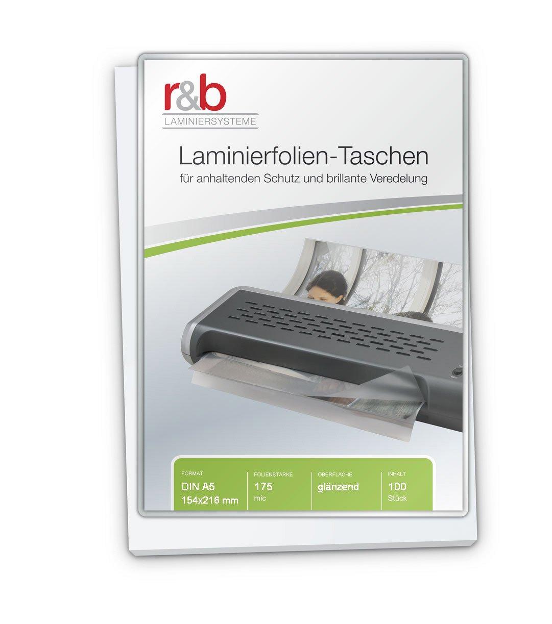 154 x 216 mm r/&b FT-A5-175 Laminierfolien A5 2 x 175 mic 100 St/ück
