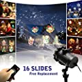 Led Christmas Light Projector 2017 Newest Version Bright Led Landscape Spotlight with 16 Slides Dynamic Lighting Landscape Led Projector Light Show for Halloween, Party, Holiday Wedding Decoration