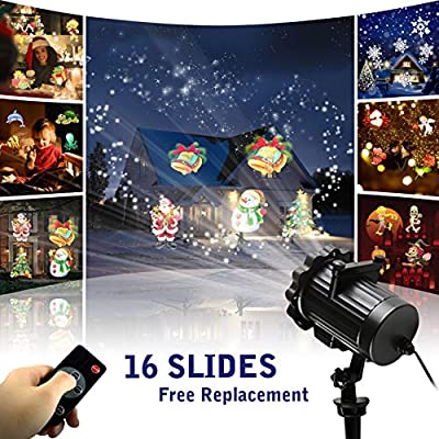 Led Christmas Projector Lights 2017 Newest Version Bright Led Landscape Spotlight with 16 Slides Dynamic Lighting Landscape Holiday Projector Show for Halloween, Party, Holiday Wedding Decoration