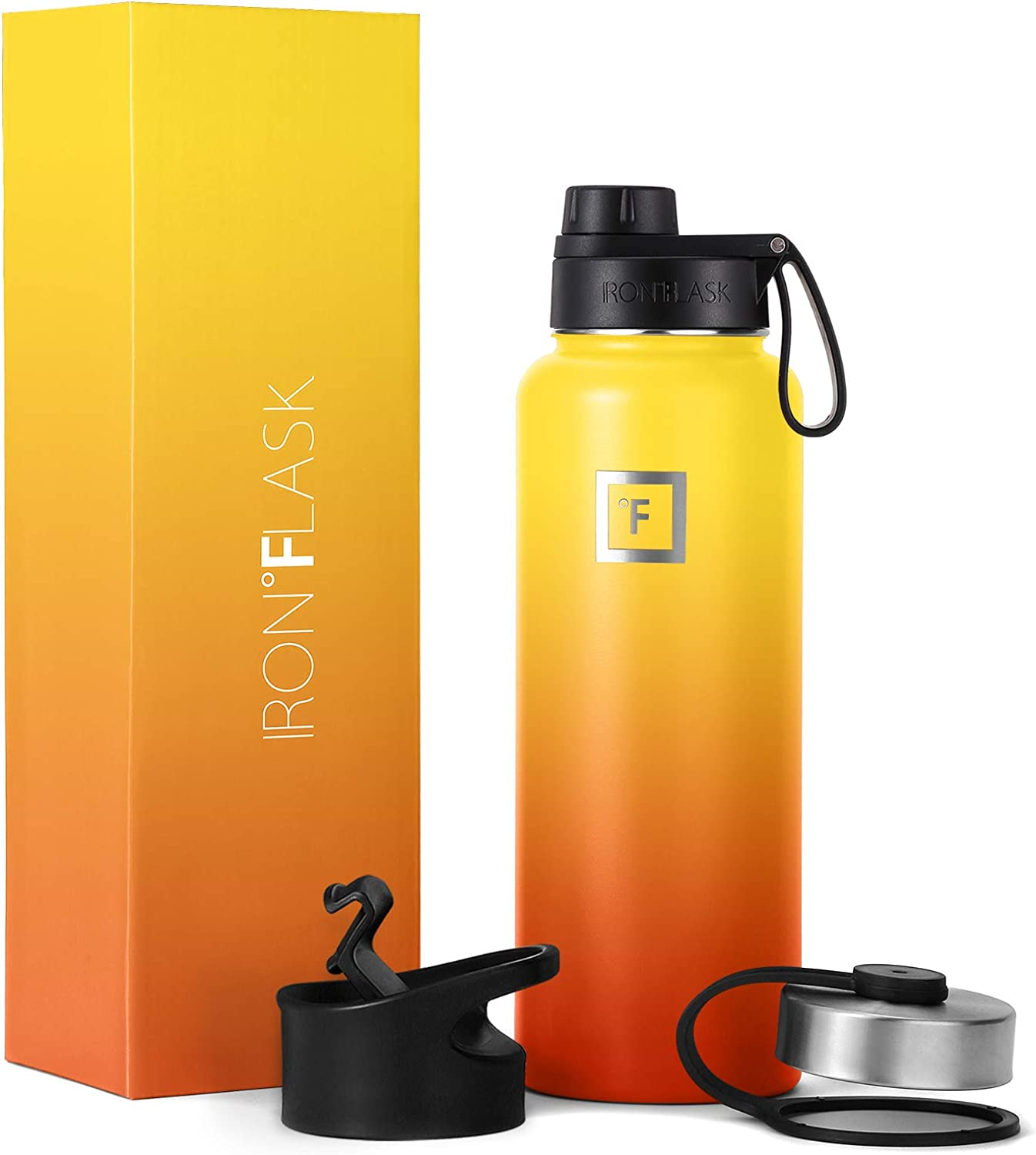 IRON °FLASK Sports Water Bottle - 40 Oz, 3 Lids (Spout Lid), Vacuum Insulated Stainless Steel, Modern Double Walled, Simple Thermo Mug, Hydro Metal Canteen