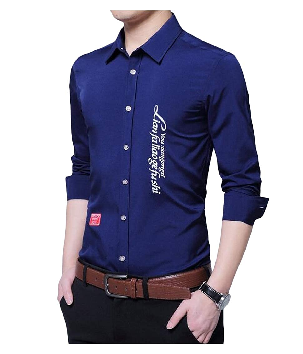 Sweatwater Mens Long-Sleeve Casual Top Button-Down Pure Color Shirts