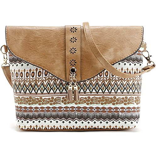 TENGGO Tassel Rabat Épaule Messenger Bohême Femmes Creux Porté Bags Vintage Crossbody Noir Sacs Marron Sacs YRBrYqw