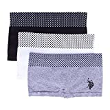 U.S. Polo Assn. Womens 3 Pack Dotted Waist Boyleg Panties Set Heather Grey/White/Black Medium