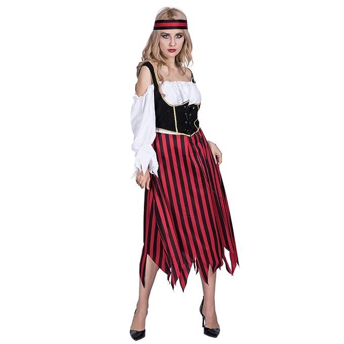 54ae01613454 EraSpooky Mujer Largo Rayas Pirata Carnaval Disfraz: Amazon.es: Ropa y  accesorios