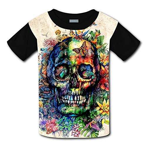 Kids Stylish Casual Design Skull Head in Flower Cluster 3D Printed Short Sleeve T Shirts (Brittany Youth Sweatshirt)