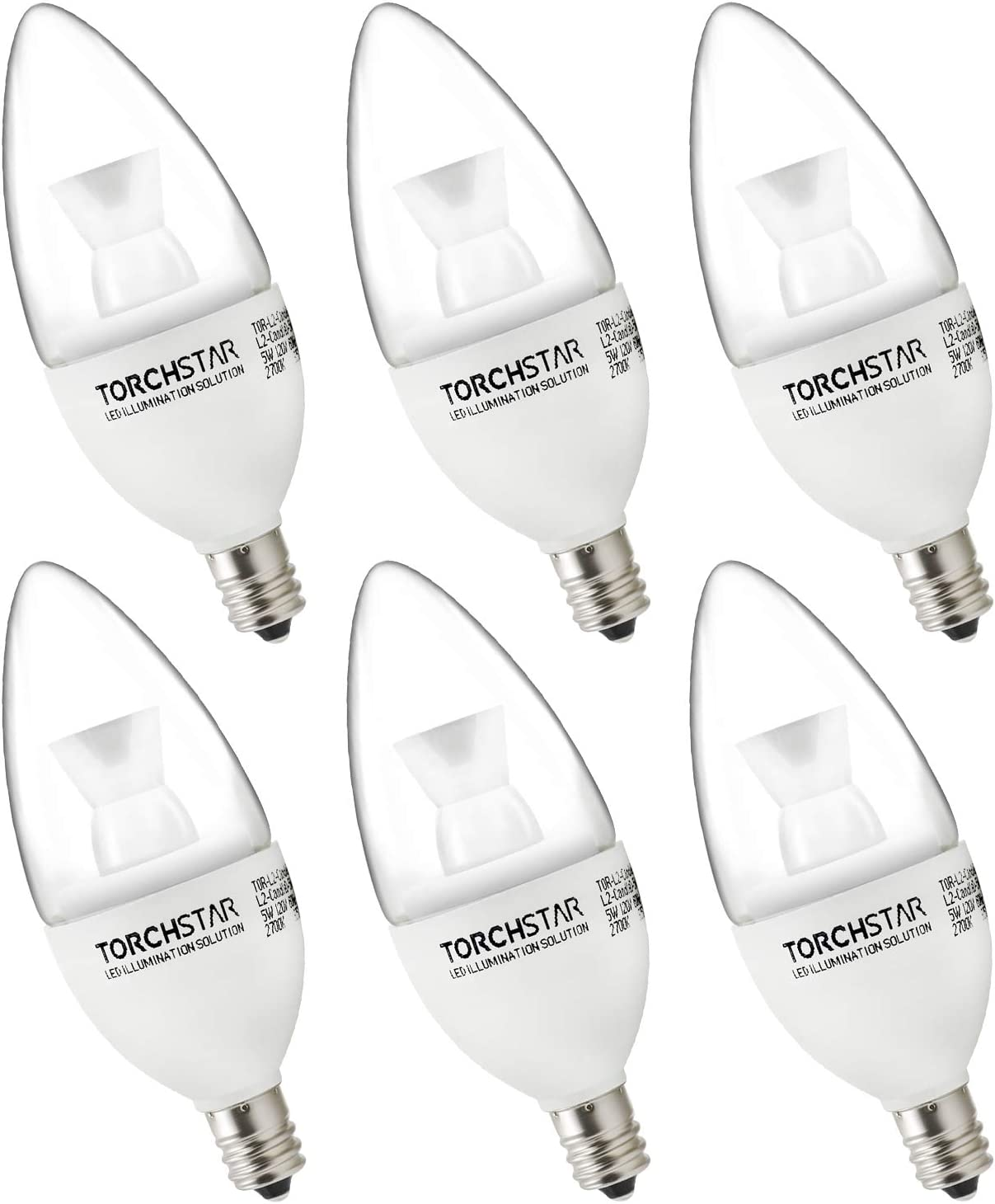 TORCHSTAR 5W Dimmable E12 LED Candelabra Bulb, 40W Eqv. Energy Star & UL Certified LED Candle Bulb, 2700K Warm White, 120° Beam Angle for Lanterns, Sconces, Home Decorative Lighting, Pack of 6