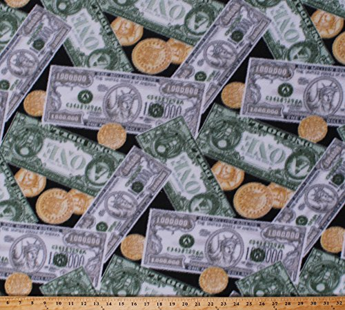 (Fleece Money Dollars One Million Dollar Bills Gold Coins Cash Currency Black Millionaire Wealth Fleece Fabric Print by The Yard)