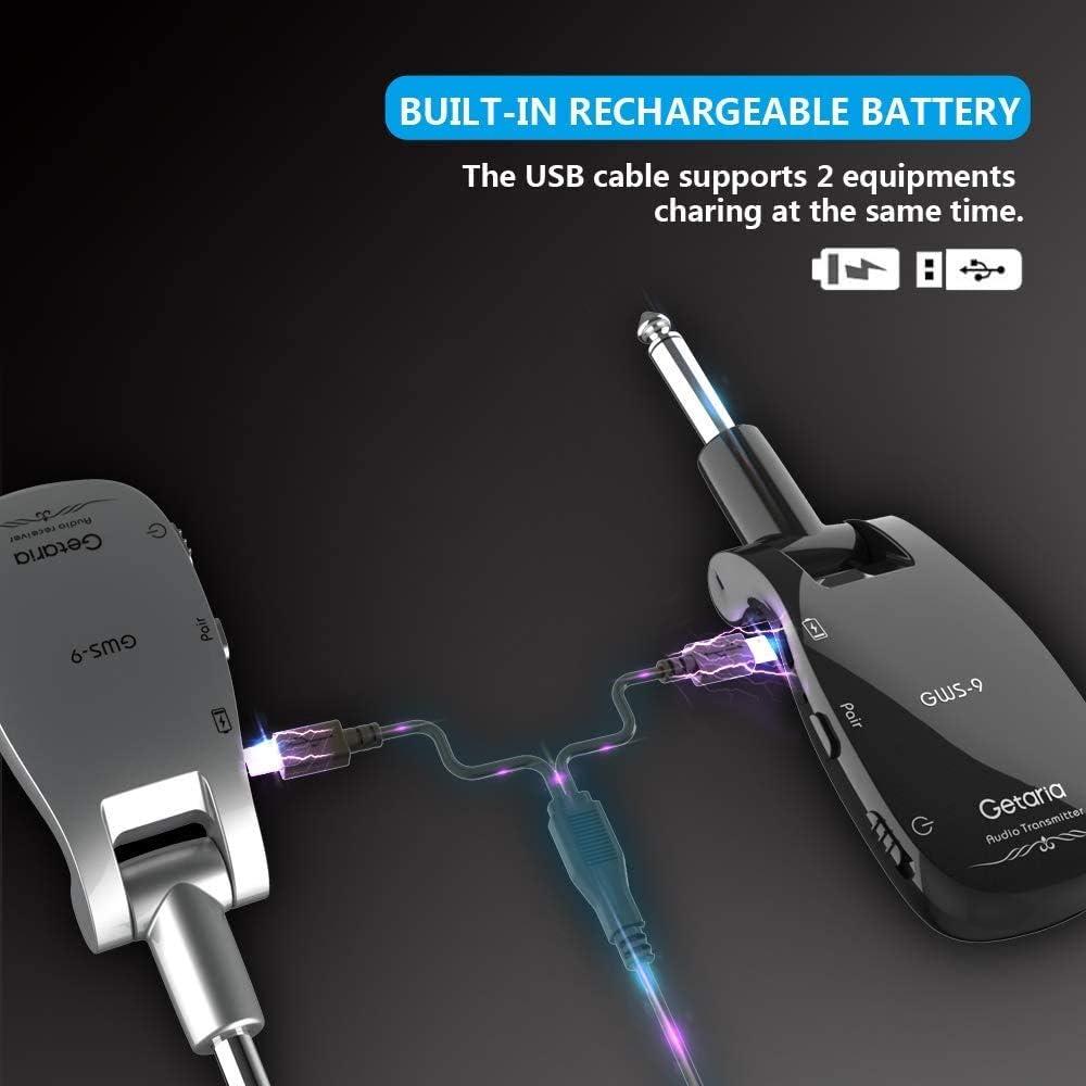 Getaria 2.4GH Wireless Guitar System Guitar Transmitter Receiver Set for Electric Guitar Bass Violin