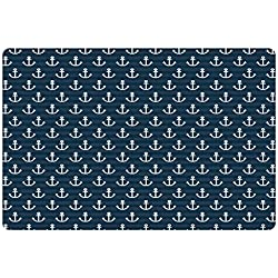 Lunarable Nautical Pet Mat for Food and Water by, Anchor Pattern Marine Themed Symmetric Adventure Cottage Ship Boat Motif, Rectangle Non-Slip Rubber Mat for Dogs and Cats, Petrol Blue White