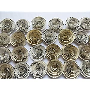 Sheet Music Roses, Set of 24, Musical Party Theme Decorations, 1.5 Inch Paper Flowers, Popular Baby Shower Decor Wedding Centerpiece 3