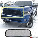 A-PADS 1PC Black STEEL Mesh Grille, with Silver Rivets for Dodge RAM 1500 2013 2014 2015 - REPLACEMENT, WITHOUT Logo Show, Insert